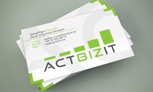 Actbizit visitkort med logotyp