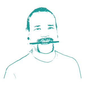 Thomas Isaksson, graphic designer at Kogit Design. Sketched profile picture.